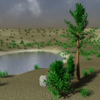 3d tree pond rocks - model