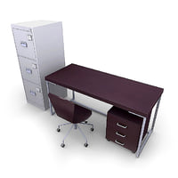 office furniture pack desk chair 3d max