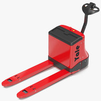 powered pallet jack red 3d c4d