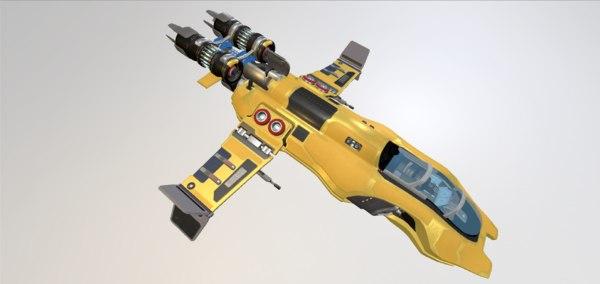 3d sci-fi ship model