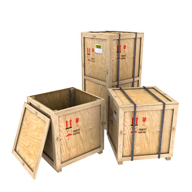3d wood crates model