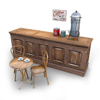 cafe furniture 3d obj