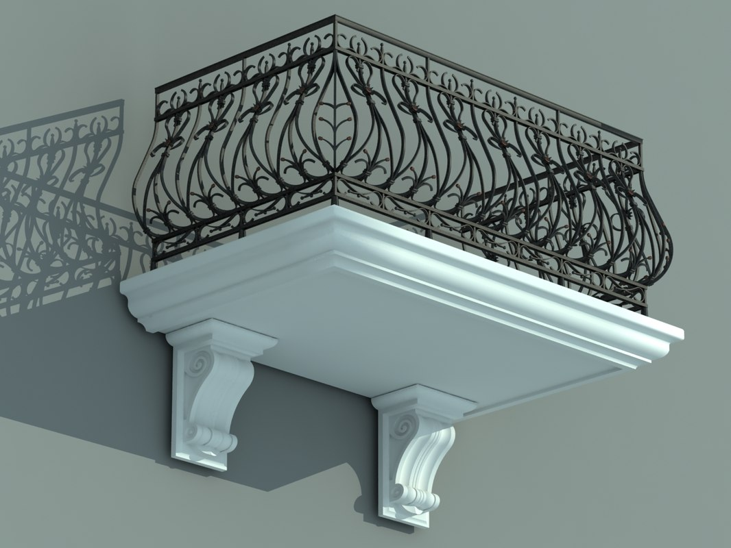 3d architectural balcony model for Balcony models