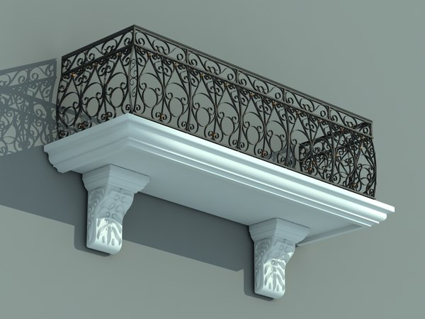 3ds balcony iron fence