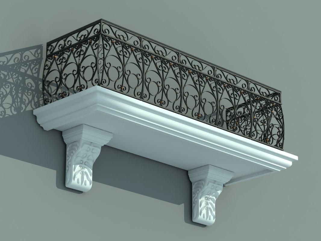 3ds balcony iron fence