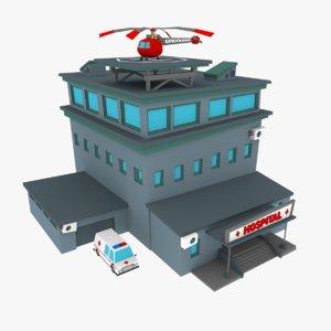 low-poly cartoon hospital 3d model