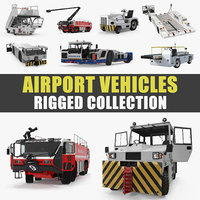 3D rigged airport vehicles