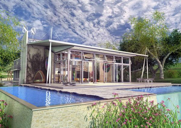 Modele 3d De Villa Moderne Avec Des Plantes Turbosquid 789825