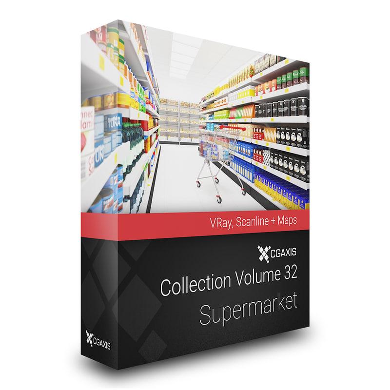 3ds max volume 32 supermarket market