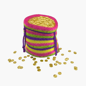 knitted bag gold coins 3ds