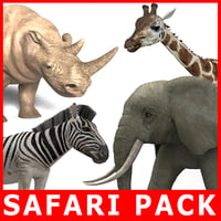 6 animals safari pack c4d
