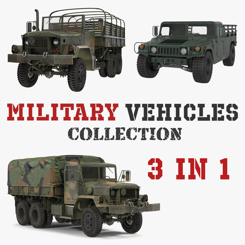 3D military cargo vehicles model