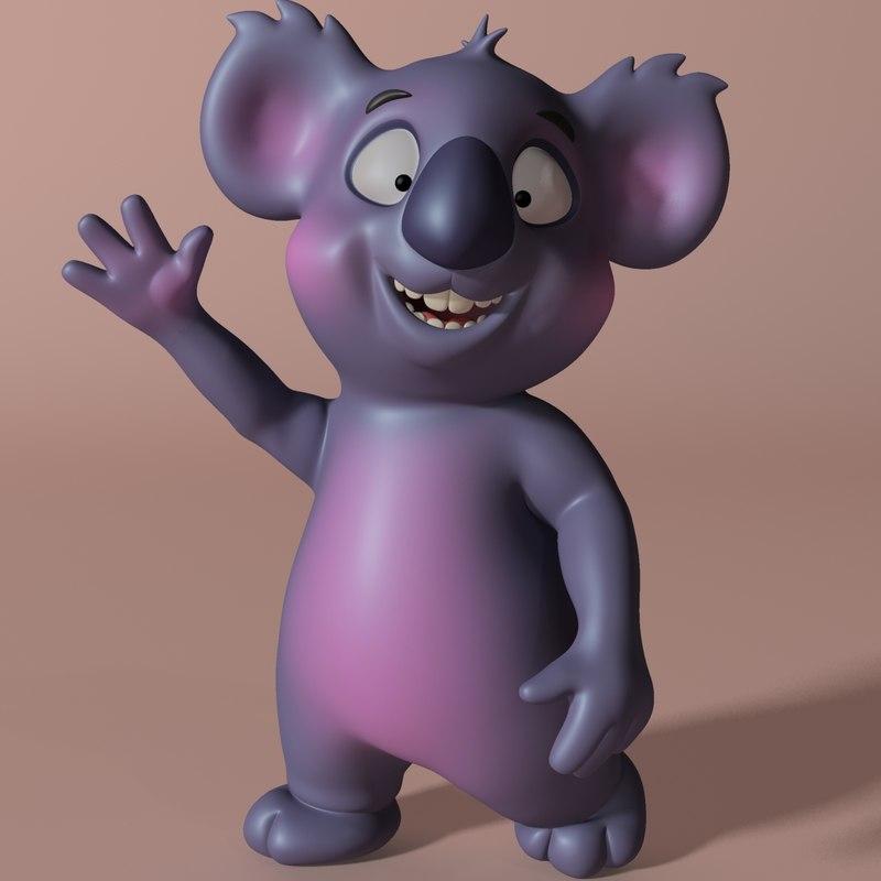cartoon koala rigged anime model