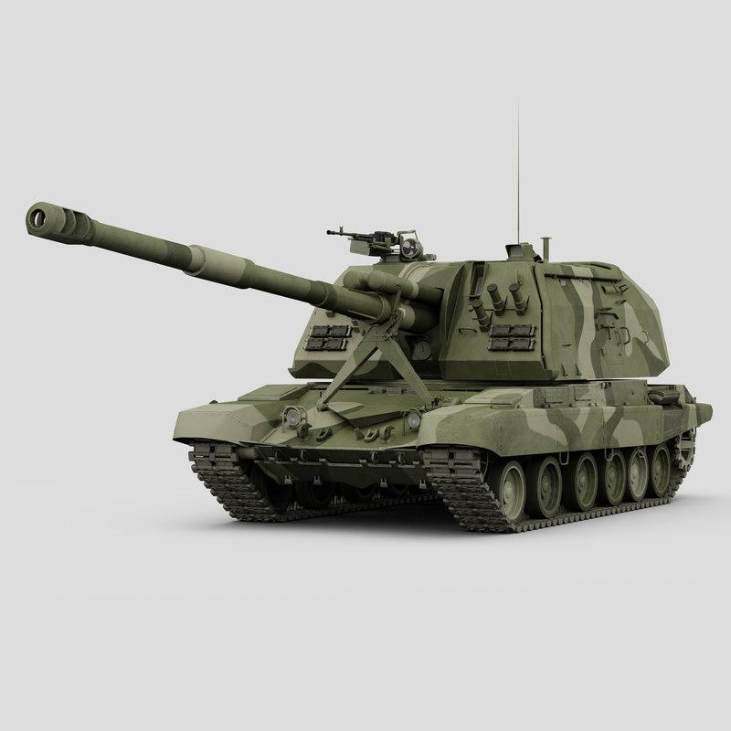 2s19 msta-s tanks msta 3d max