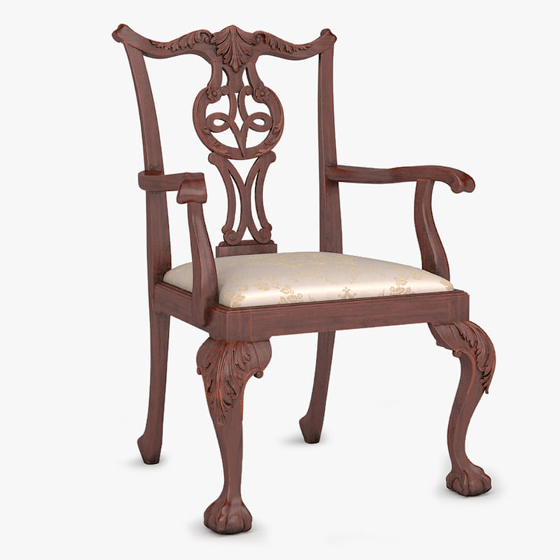 3d chippendale arm chair 01 model