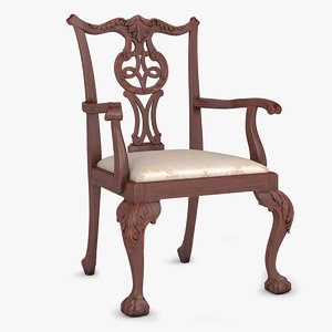 3d chippendale arm chair 01 model