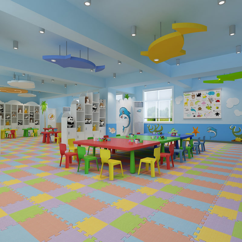 Modern Classroom Blocks : Kindergarten classroom d model turbosquid