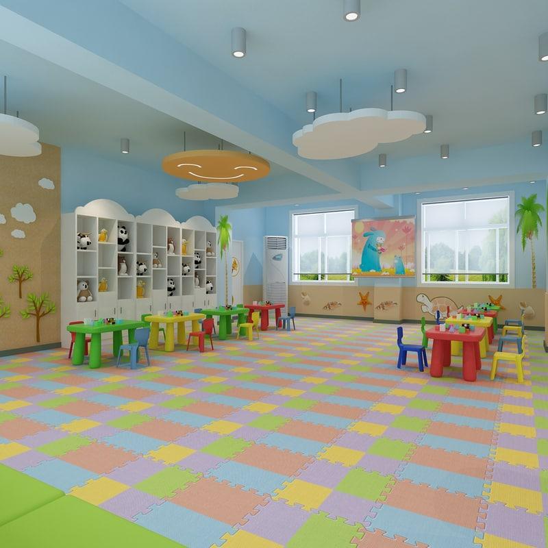 Modern Classroom Model ~ Modern kindergarten interior design