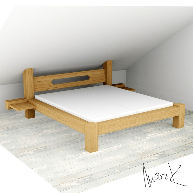 double bed wood beam 3ds