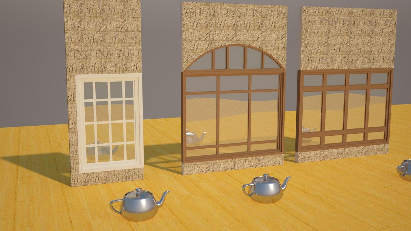window designed wooden 3D model