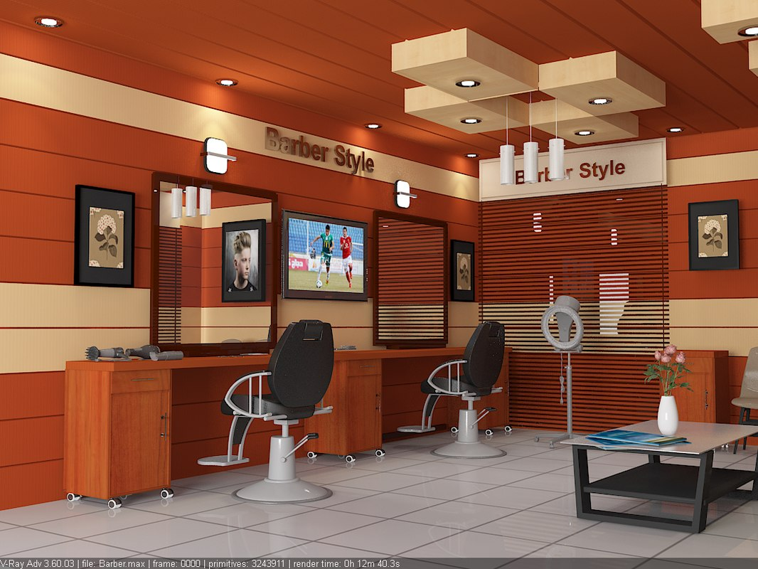 barber style 3d max