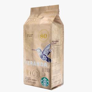 3d starbucks coffee packaging model