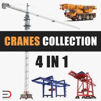 3D model cranes port container