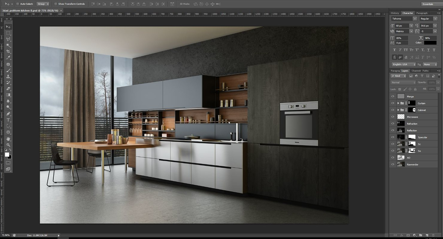 Poliform Kitchen Design. scene 3d max
