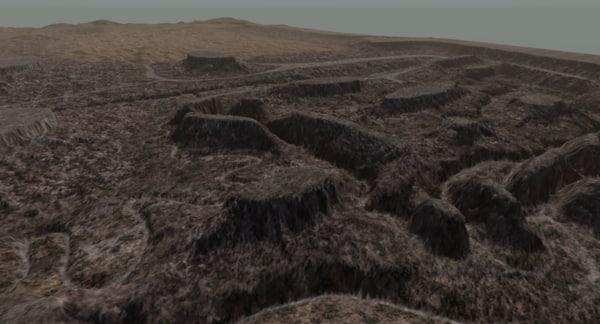 3d obj terrain sand canyon