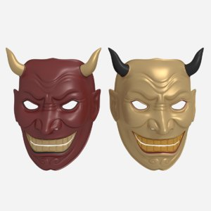 asian mask 3d obj