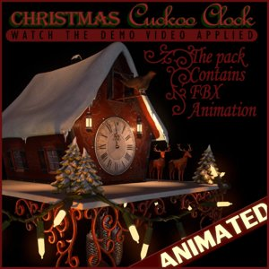 3d model christmas cuckoo clock