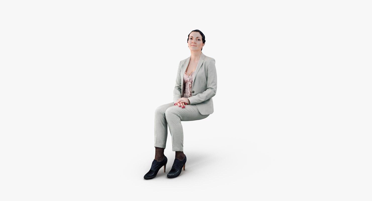 woman casual sitting 3d obj