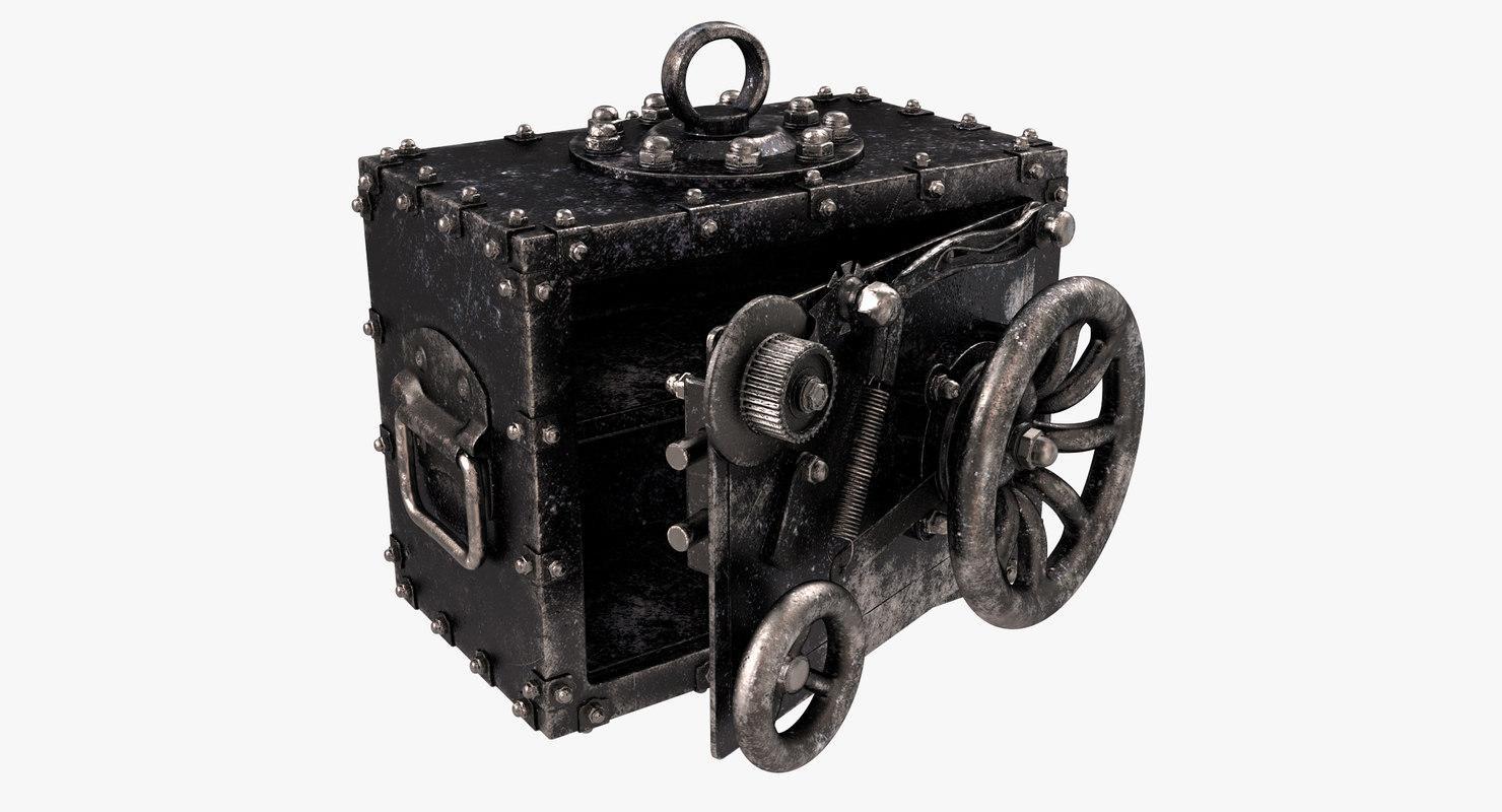 3D vintage safe s model
