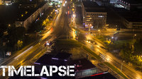 Timelapse - Top view of night traffic city streets
