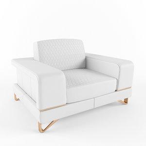 3d bianca leather chair half model