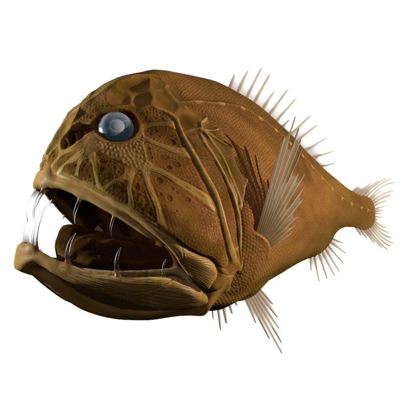 3d fangtooth fish model