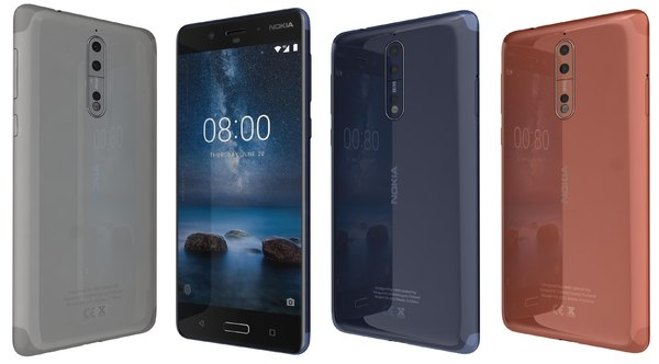 3D nokia 8 colors model