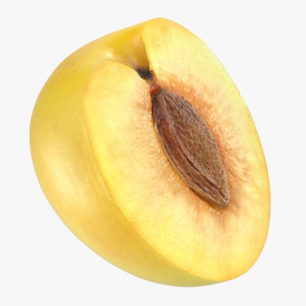 3D half wet yellow plum