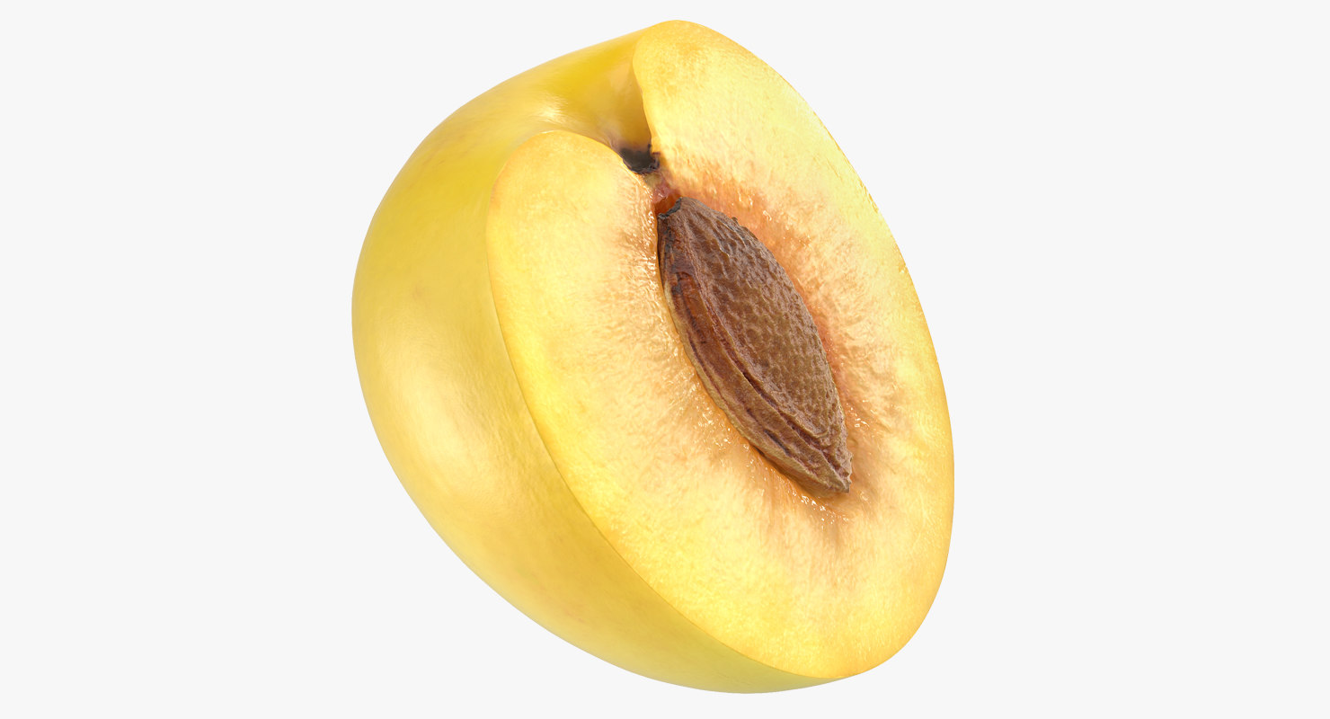 3D half wet yellow plum