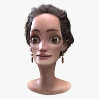 3D cartoon woman head model