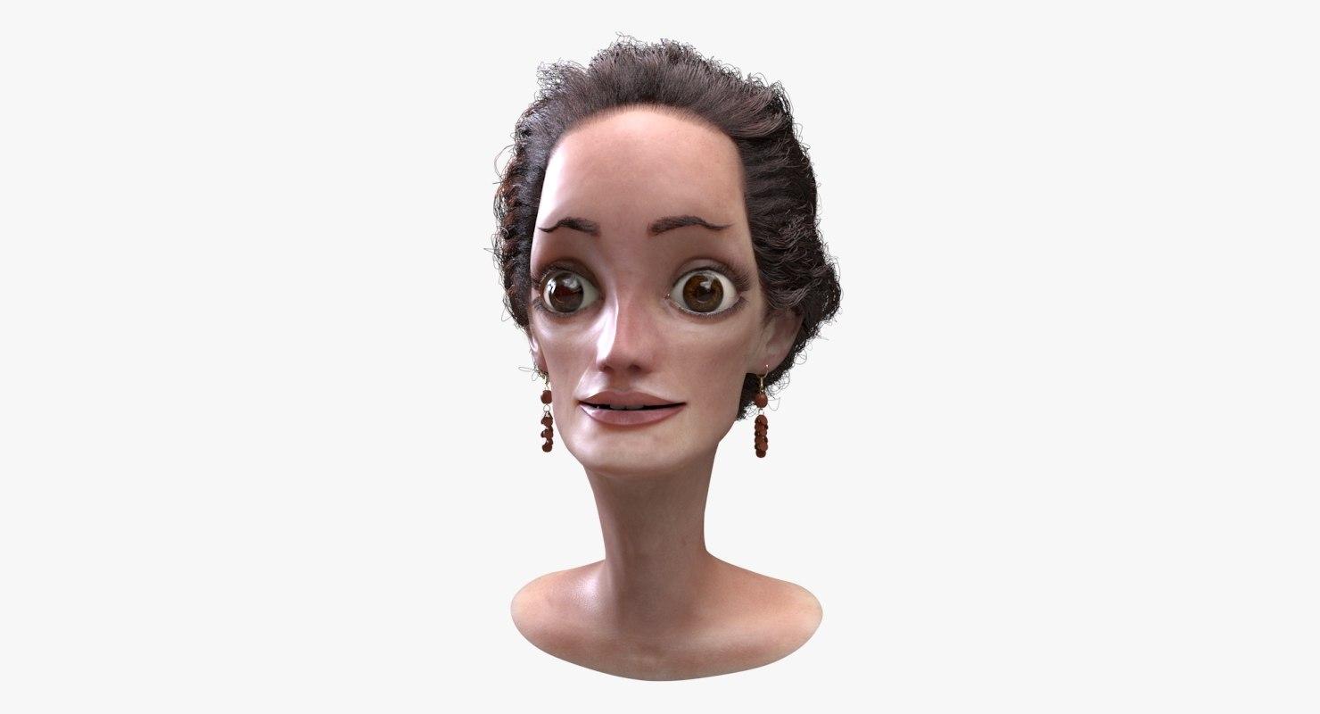 3D cartoon woman head model