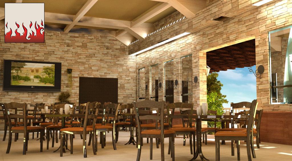 design restaurant 3d model