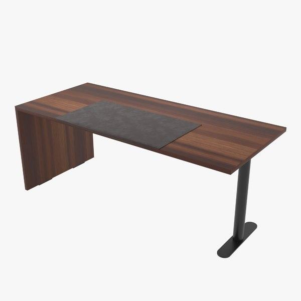 free desk walnut veneer 3d model
