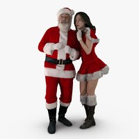 santa mrs claus people human 3d max
