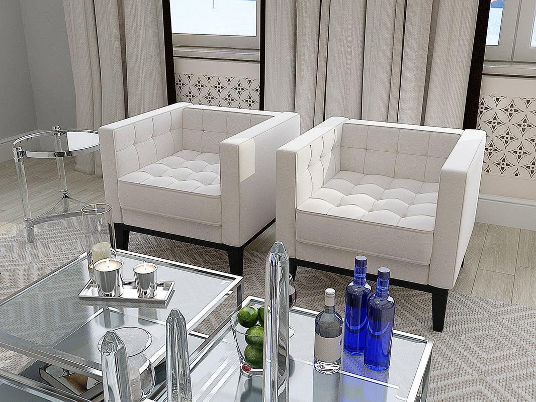 3d model of eichholtz corbusier armchair