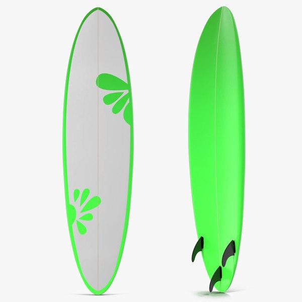 3d model of surfboard funboard 4