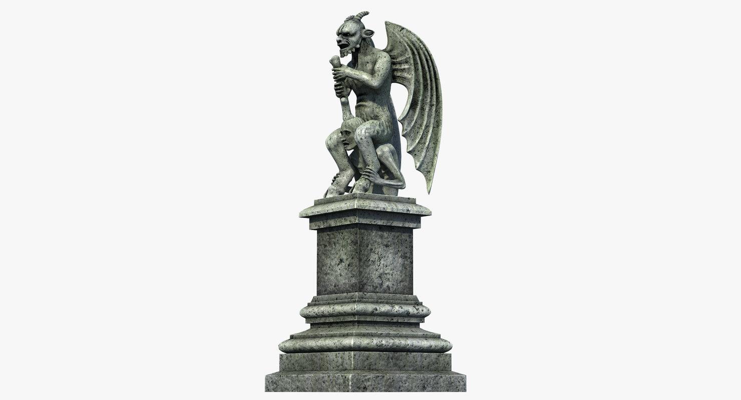 gothic statue 03 3D