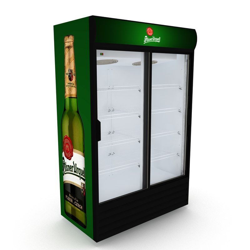 3D model pilsner urquell fridge sliding doors