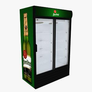 3D model pilsner urquell fridge sliding doors
