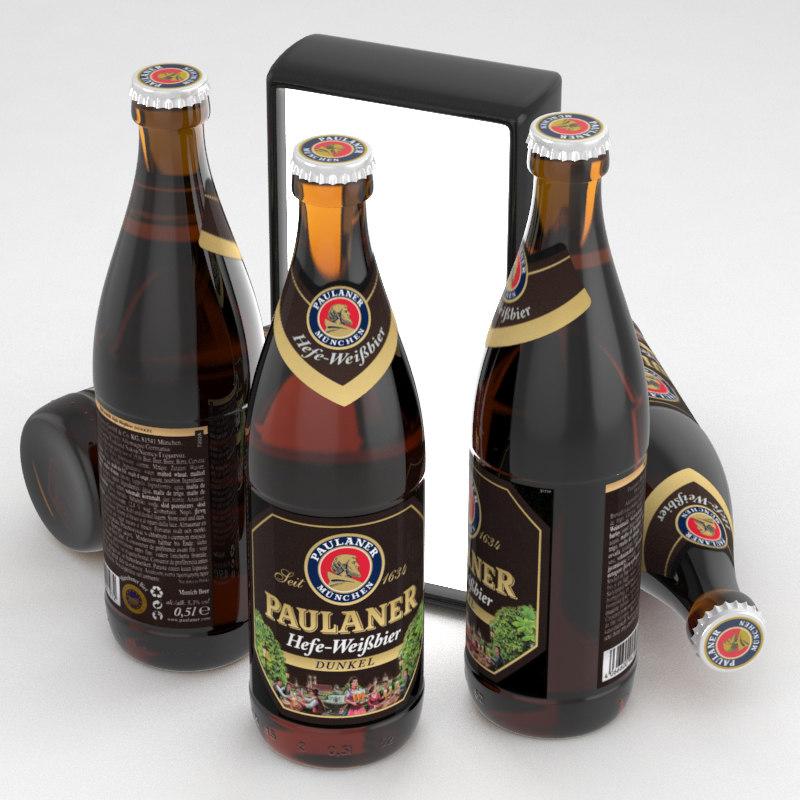 3d model beer dunkel paulaner